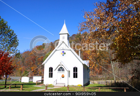Small beautiful church stock photo, Small beautiful white church in rural West Virginia by Sreedhar Yedlapati