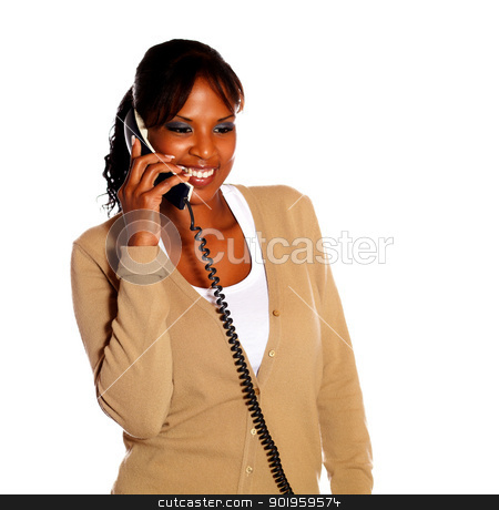 Adult woman speaking on phone stock photo, Adult woman speaking on phone against white background by pablocalvog