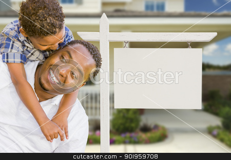 African American Father and Mixed Race Son In Front of Blank Rea stock photo, Happy African American Father and Mixed Race Son In Front of Blank Real Estate Sign and New House. by Andy Dean