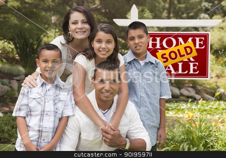 Hispanic Family in Front of Sold Real Estate Sign stock photo, Happy Hispanic Family in Front of Sold Home for Sale Real Estate Sign. by Andy Dean