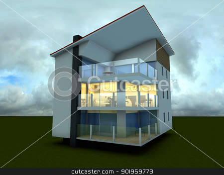 Modern building stock photo, 3D rendered Illustration. by Michael Osterrieder