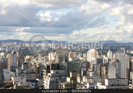 Skyline of Sao Paulo  stock photo, Skyline view from Higienopolis, Sao Paulo, Brazil. by Michael Osterrieder