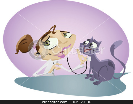 Vet nurse stock vector clipart, A happy cartoon vet nurse takes care of cute little Kitten. Illustrator .eps v10. Contains some transparency effects on highlights. by mojojojo