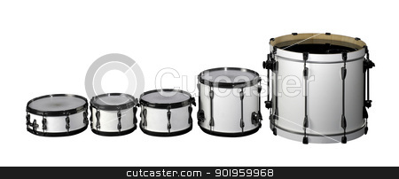 Drum set stock photo, set of white drums in white back by prill