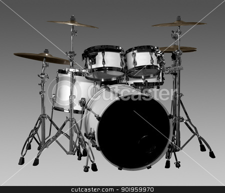 Drum kit stock photo, white drum kit in grey gradient back by prill