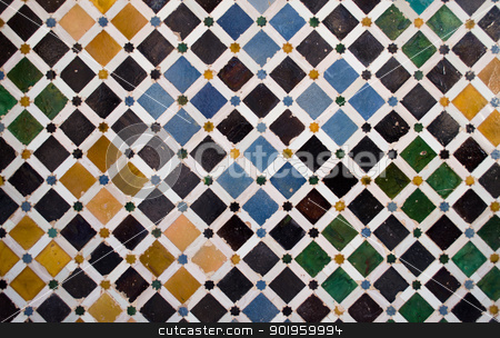 Colorful tiles, arabic style, in the Alhambra, Granada stock photo, Pattern or texture of ceramic tiles mosaic found in the Alhambra, in Spain by Stefano Cavoretto