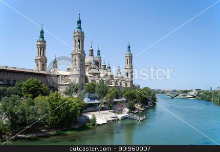 Saragozza cathedral and Ebro river stock photo, Saragozza cathedral seen from the Ebro river in a sunny day by Stefano Cavoretto