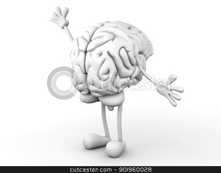 Cartoon Brain stock photo, A greeting Cartoon Brain. 3D rendered Illustration. by Michael Osterrieder