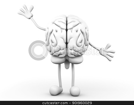 Cartoon Brain stock photo, A greeting Cartoon Brain. 3D rendered Illustration. by Michael Osterrieder