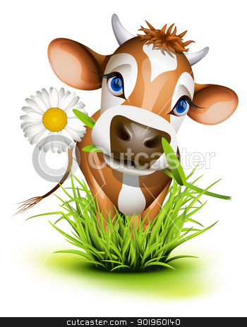 Jersey cow in grass stock vector clipart, Jersey cow in green grass by Laurent Renault