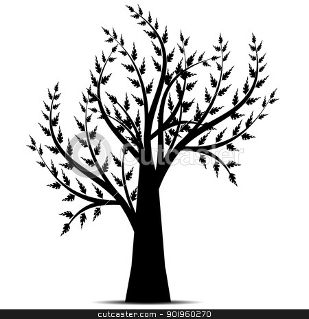 Art Tree Silhouette  stock vector clipart, Art tree silhouette isolated on white background by Ingvar Bjork
