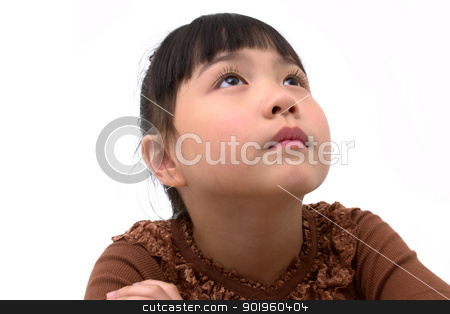 Beautiful asian girl thinking  stock photo, beautiful little asian girl isolated on white background  by blueperfume