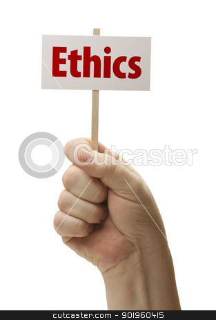 Ethics Sign In Fist On White stock photo, Ethics Sign In Male Fist Isolated On A White Background. by Andy Dean