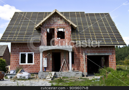 New house under construction stock photo, New house under construction by Mariusz Kaldon