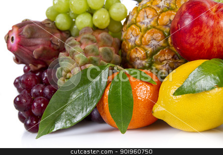 Fruits stock photo, Various fruits isolated on white background by Mariusz Kaldon