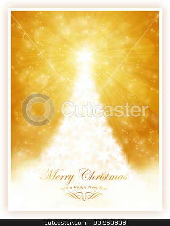 White shiny Christmas tree on sparkling golden background stock vector clipart, Christmas tree made of white stars on golden light ray background with sparkling lights and defocused light dots.  by Ina Wendrock