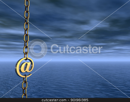 email symbol stock photo, golden email symbol as part of a chain- 3d illustration by J?