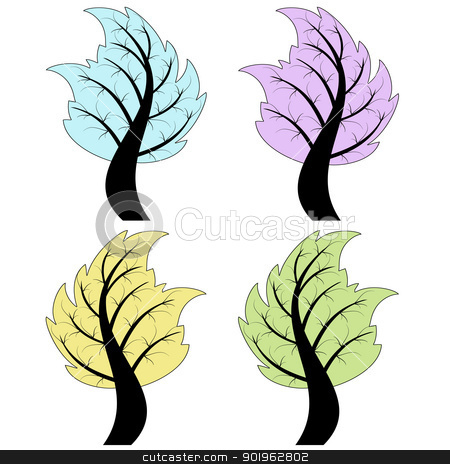 Art Tree stock vector clipart, Colorful art tree isolated on white background by Ingvar Bjork