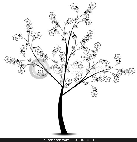 Flower Tree stock vector clipart, Beautiful flower tree isolated on white background by Ingvar Bjork
