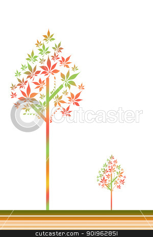 Autum tree stock vector clipart, Beautiful autumn trees isolated on white background by Ingvar Bjork