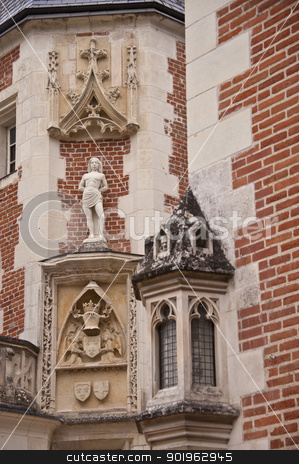 statue on the facade of Clos Lucè stock photo, statue situated on the facade of the Clos Lucè, famous castle were Leonardo da Vinci lived for the last years of his life by faabi