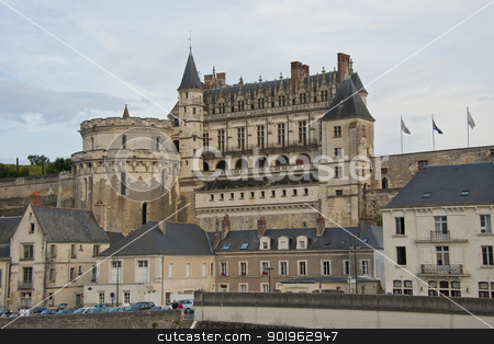 Chateau of Amboise stock photo, The royal castle of Amboise seen from the bridge over the Loire by faabi