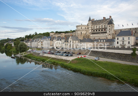 Chateau d'Amboise and village stock photo, The chateau d'Amboise and the village on the river Loire by faabi