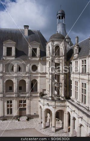 staircase on a facade of the Chateau of Chambord stock photo, An internal wing of the Chateau de Chambord, with a great marble staircase by faabi