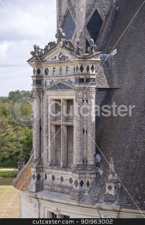 window in the chateau of Chambord stock photo, window on the roof of the chateau of Chambord by faabi