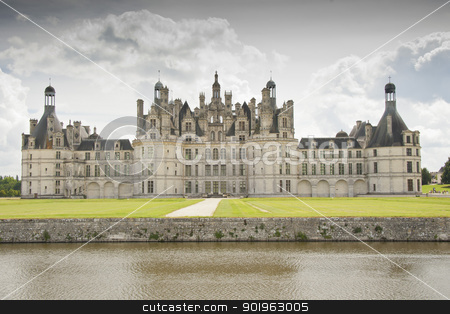 the north facade of the chateau of Chambord stock photo, the north facade of the chateau of Chambord, the biggest one in the chateau of the Loire Valley, unesco world heritage by faabi