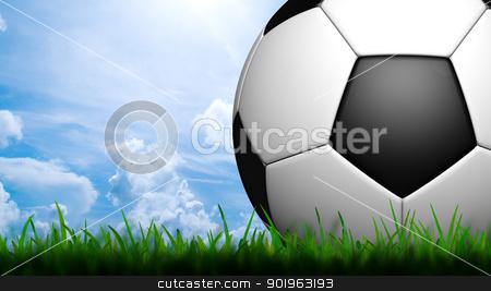 3D football in green grass on blue sky stock photo, 3D football in green grass on blue sky by jakgree