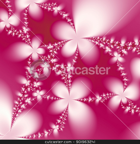 Cerise Petals stock photo, Digital abstract image with a floral design in white and cerise pink. by Colin Forrest