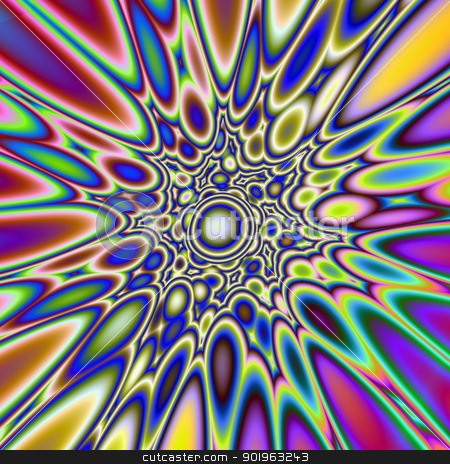Psychedelic Explosion stock photo, Digital abstract image with an exploding  psychedelic design in blue, yellow, pink and purple. by Colin Forrest