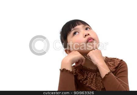 Beautiful asian girl thinking  stock photo, Beautiful little asian girl isolated on white background  by blueperfume