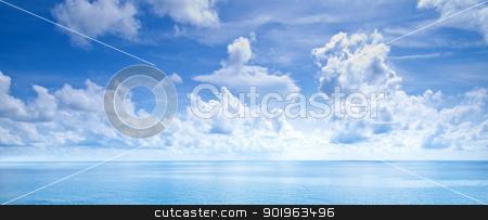 Beautiful blue sky panoramic sea view stock photo, Beautiful blue sky panoramic sea view by jakgree