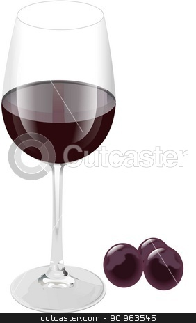 RED WINE AND RED GRAPES stock vector clipart,  by STAR ILLUSTRATION