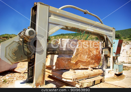 Machinery in quarry of marble extraction. stock photo, Machinery in quarry of marble extraction. by Inacio Pires