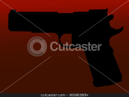 Hand gun silhouette stock vector clipart, Hand gun silhouette isolated on red background. by lkeskinen