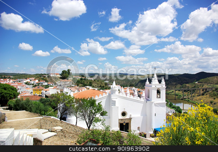White church in Mertola, south of Portugal.  stock photo, White church in Mertola, south of Portugal.  by Inacio Pires