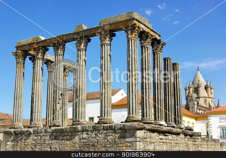 Roman temple and cathedral tower of Evora, Portugal. stock photo, Roman temple and cathedral tower of Evora, Portugal. by Inacio Pires