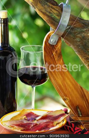 Spanish Jamon  and red wine. stock photo, Spanish Jamon  and red wine. by Inacio Pires