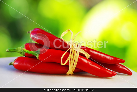 Red hot chili peppers tied with rope stock photo, Red hot chili peppers tied with rope by Inacio Pires