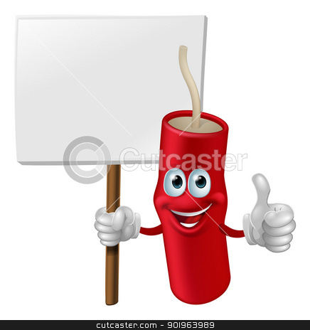 Fireworks man holding a sign stock vector clipart, Illustration of a fireworks man holding a sign and doing a thumbs up gesture  by Christos Georghiou