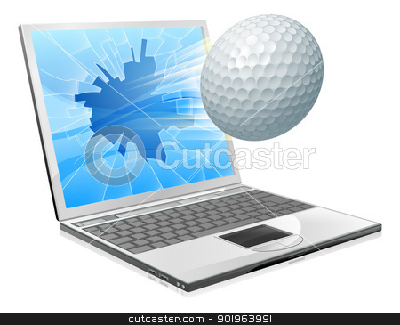 Golf ball laptop screen concept stock vector clipart, Illustration of a golf ball flying out of a broken laptop computer screen by Christos Georghiou