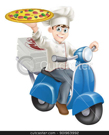 Pizza chef moped delivery stock vector clipart, A smartly dressed pizza chef in his chef whites delivering pizza on his moped. by Christos Georghiou