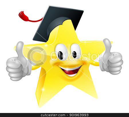 Graduate star mascot stock vector clipart, Cartoon star mascot with a graduate's mortarboard cap on giving a thumbs up by Christos Georghiou