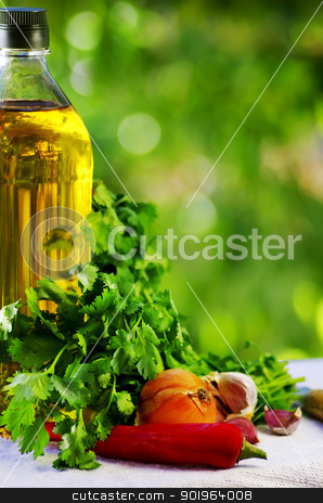 Olive oil and condiments stock photo, Olive oil and condiments by Inacio Pires