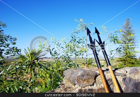 Two medieval lances in wall of castle stock photo, Two medieval lances, against the wall of the castle by Inacio Pires