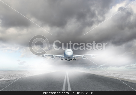 Flying plane stock photo, Image of a white flying passenger plane by Sergey Nivens