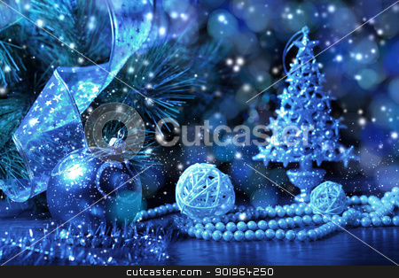 Blue Christmas collage stock photo, Blue Christmas collage. Decorations and ribbons on a blue background by Sergey Nivens